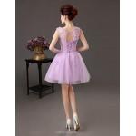 Cocktail Party Dress - Lavender Plus Sizes A-line Bateau Knee-length Satin Celebrity Dresses