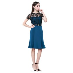Cocktail Party Dress - Ink Blue Plus Sizes / Petite Sheath/Column Jewel Knee-length Cotton / Lace