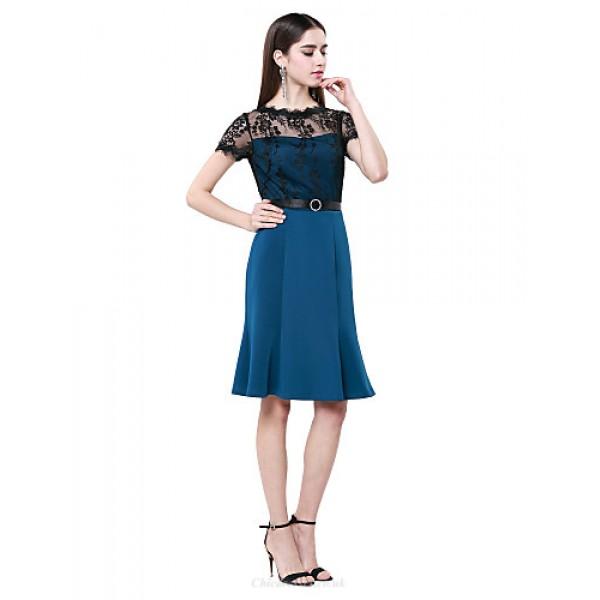 Cocktail Party Dress - Ink Blue Plus Sizes / Petite Sheath/Column Jewel Knee-length Cotton / Lace Special Occasion Dresses