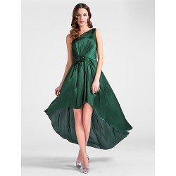 Cocktail Party / Wedding Party Dress - Dark Green Plus Sizes / Petite Sheath/Column One Shoulder Tea-length Satin Chiffon