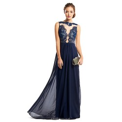 Formal Evening Dress Dark Navy Sheath Column Bateau Floor Length Chiffon Lace