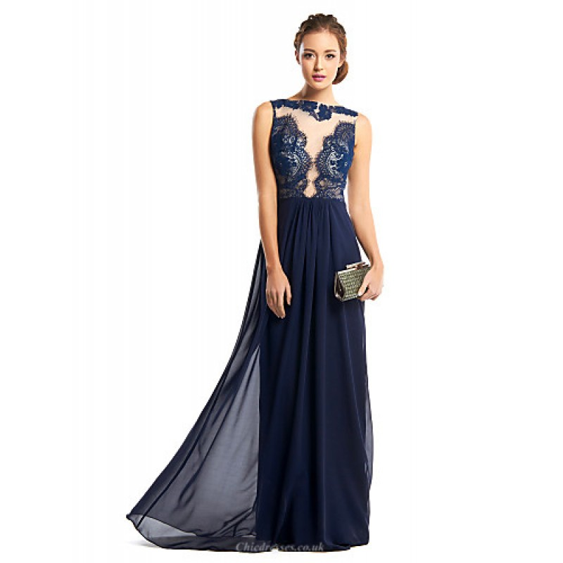 329d9069c10 TS Couture Formal Evening Dress - Dark Navy Sheath Column Bateau  Floor-length Chiffon
