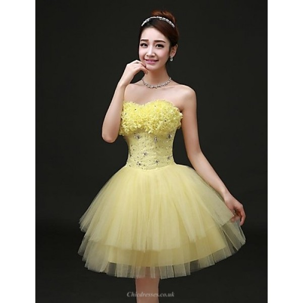 Cocktail Party Dress - Daffodil Plus Sizes A-line Strapless Short/Mini / Knee-length Satin / Tulle Special Occasion Dresses