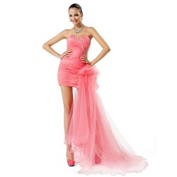 Formal Evening / Prom Dress - Watermelon Plus Sizes / Petite Sheath/Column Sweetheart / Strapless Short/Mini / Asymmetrical Tulle