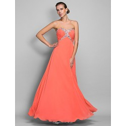 Formal Evening / Prom / Military Ball Dress - Watermelon Plus Sizes / Petite A-line Sweetheart Floor-length Chiffon