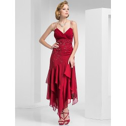 Formal Evening Military Ball Dress Burgundy Plus Sizes Petite Sheath Column Spaghetti Straps Tea Length Chiffon