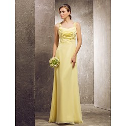 Floor-length Chiffon Bridesmaid Dress - Daffodil Plus Sizes / Petite Sheath/Column Cowl / Scoop