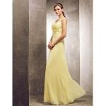 Floor-length Chiffon Bridesmaid Dress - Daffodil Plus Sizes / Petite Sheath/Column Cowl / Scoop Special Occasion Dresses