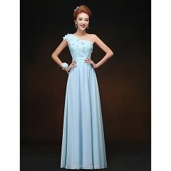 Formal Evening Dress - Sky Blue Petite Sheath/Column One Shoulder Floor-length Chiffon