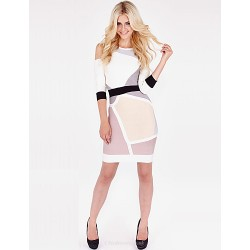 Cocktail Party Dress - Multi-color Petite Sheath/Column Scoop / Notched Short/Mini Lace / Spandex / Rayon / Nylon Taffeta