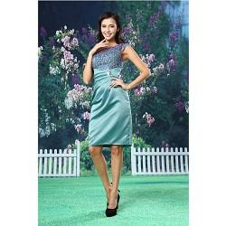 Cocktail Party Dress - Dark Green Sheath/Column Bateau Knee-length Lace / Satin