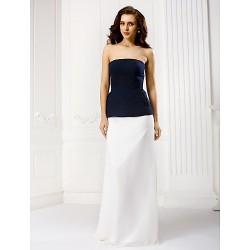 Formal Evening Dress Multi Color Sheath Column Strapless Floor Length Chiffon