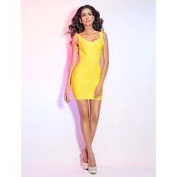 Cocktail Party Holiday Dress Daffodil Petite Sheath Column Straps V Neck Short Mini Rayon