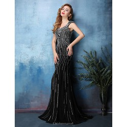 Dress Black Trumpet Mermaid Scoop Sweep Brush Train Tulle Satin Chiffon
