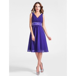 Cocktail Party Dress Regency Plus Sizes Petite A Line Princess V Neck Knee Length Chiffon
