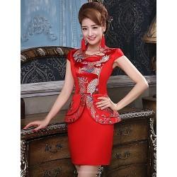 Cocktail Party Dress Multi Color Plus Sizes Sheath Column High Neck Short Mini Polyester
