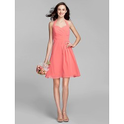 Knee-length Georgette Bridesmaid Dress - Watermelon Plus Sizes / Petite A-line Halter