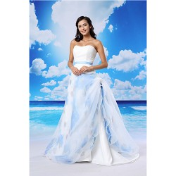 A Line Formal Evening Dress White Court Train Sweetheart Lace Organza Satin