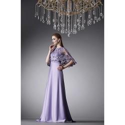 Formal Evening Dress Lavender A Line Jewel Floor Length Satin