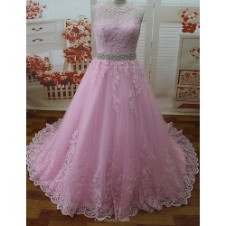 Formal Evening Dress Candy Pink Petite A Line Jewel Sweep Brush Train Lace Tulle
