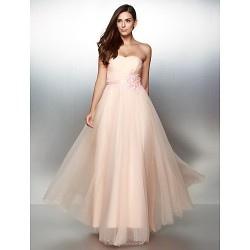 Formal Evening Dress - Pearl Pink A-line Strapless Ankle-length Lace / Tulle