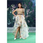 A-line Formal Evening Dress - Gold Asymmetrical Jewel Lace / Organza Special Occasion Dresses