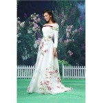 A-line Formal Evening Dress - White Floor-length Off-the-shoulder Organza / Satin Special Occasion Dresses