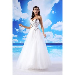 A Line Formal Evening Dress White Floor Length Sweetheart Organza Satin