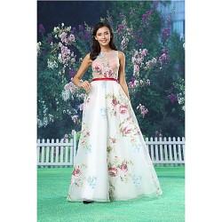 A Line Formal Evening Dress White Floor Length Jewel Organza Satin