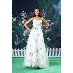 A-line Formal Evening Dress - White Floor-length Sweetheart Organza / Satin