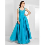 Formal Evening / Prom / Military Ball Dress - Pool Plus Sizes / Petite Sheath/Column Straps / Sweetheart Floor-length Chiffon Special Occasion Dresses