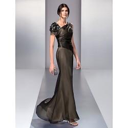 Formal Evening Prom Military Ball Dress Black Plus Sizes Petite Trumpet Mermaid V Neck Floor Length Organza