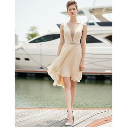 Cocktail Party Dress Champagne Sheath Column Jewel Short Mini Chiffon