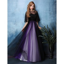 Formal Evening Dress - Multi-color A-line Jewel Floor-length Satin / Tulle