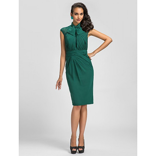 Cocktail Party Dress - Dark Green Plus Sizes / Petite Sheath/Column High Neck Knee-length Chiffon Special Occasion Dresses