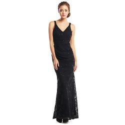 Formal Evening Dress Black Trumpet Mermaid V Neck Ankle Length Lace