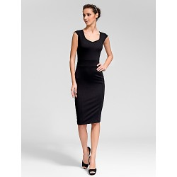 Cocktail Party Dress Black Plus Sizes Sheath Column Scoop Knee Length Cotton