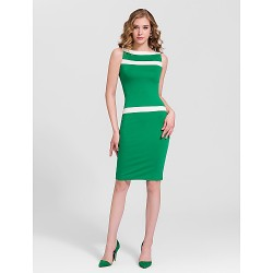 Cocktail Party Dress - Multi-color Plus Sizes Sheath/Column Bateau Knee-length Cotton
