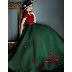 Dress - Multi-color Ball Gown V-neck Sweep/Brush Train Spandex
