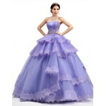 Formal Evening Dress - Lilac Petite Ball Gown Strapless Floor-length Lace / Organza / Tulle / Charmeuse Special Occasion Dresses