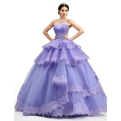 Formal Evening Dress Lilac Petite Ball Gown Strapless Floor Length Lace Organza Tulle Charmeuse