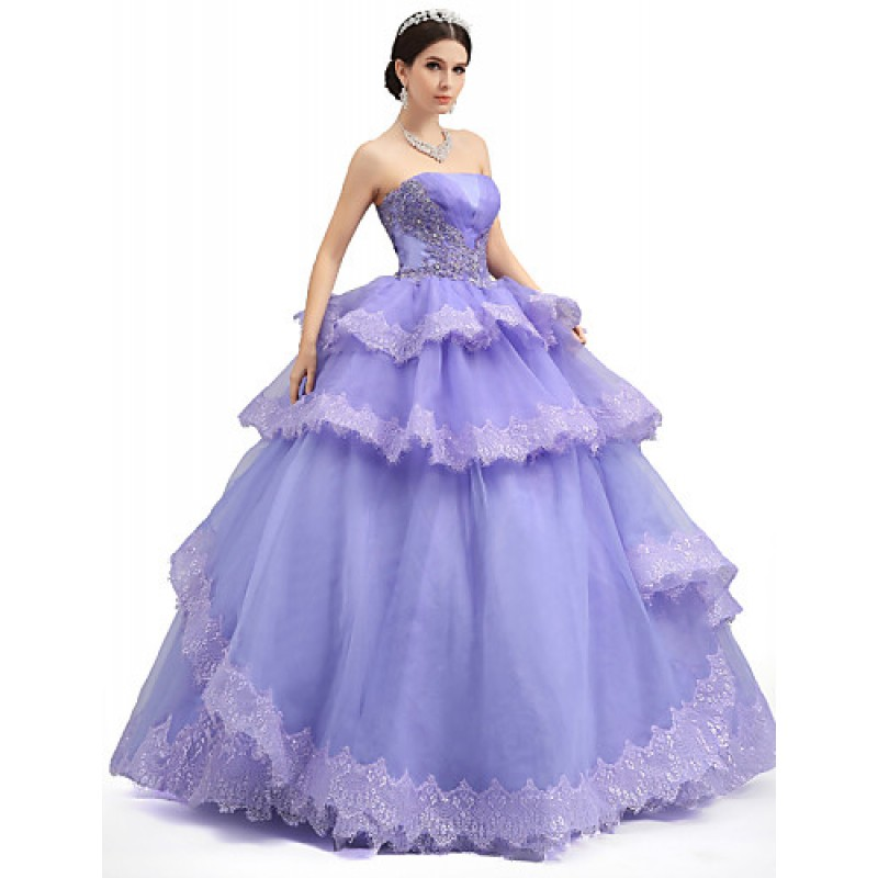 5264d6d2111f6 ... Formal Evening Dress - Lilac Petite Ball Gown Strapless Floor-length  Lace / Organza ...