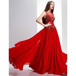 Formal Evening Dress - Ruby Petite A-line Bateau Sweep/Brush Train Chiffon / Lace