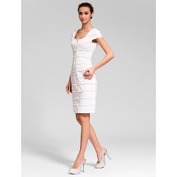 Cocktail Party Dress - White Sheath/Column Scoop Knee-length Polyester