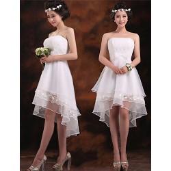 Asymmetrical Chiffon Bridesmaid Dress - Ruby / White / Champagne A-line Strapless