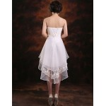 Asymmetrical Chiffon Bridesmaid Dress - Ruby / White / Champagne A-line Strapless Special Occasion Dresses