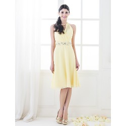 Knee Length Chiffon Bridesmaid Dress Daffodil Plus Sizes Petite A Line Princess High Neck