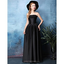 Formal Evening Dress - Black A-line Strapless Floor-length Satin Chiffon