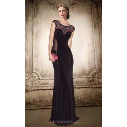 Formal Evening Dress Black Plus Sizes Petite A Line Jewel Floor Length Chiffon