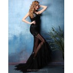 Formal Evening Dress - Black Trumpet/Mermaid One Shoulder Sweep/Brush Train Lace / Tulle Special Occasion Dresses